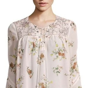Buffalo Jeans Boho Floral Blouse With Bell Sleeves